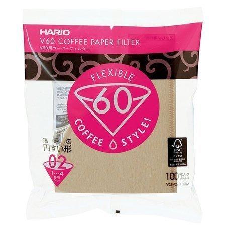 v60 hario filtry brazowe 100 sztuk